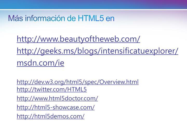 Más información de HTML5 en
