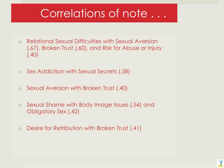 Correlations of note . . .