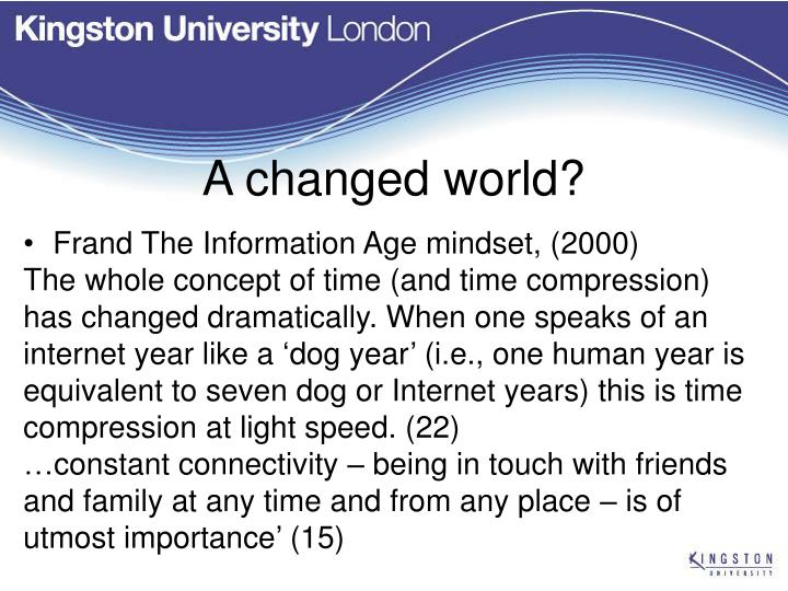 A changed world?