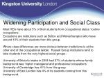 widening participation and social class
