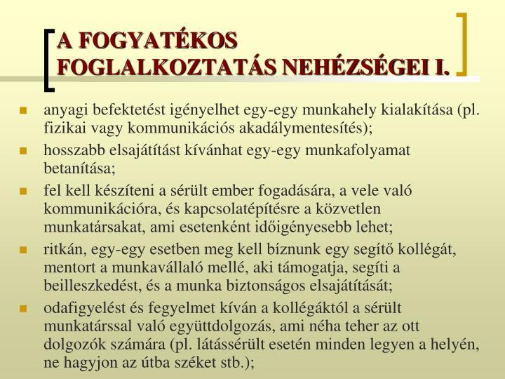 A FOGYATÉKOS FOGLALKOZTATÁS NEHÉZSÉGEI I.