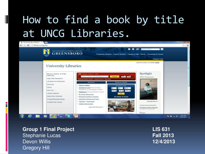 How to find a book by title at uncg libraries