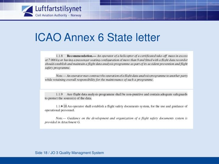 ICAO Annex 6 State letter