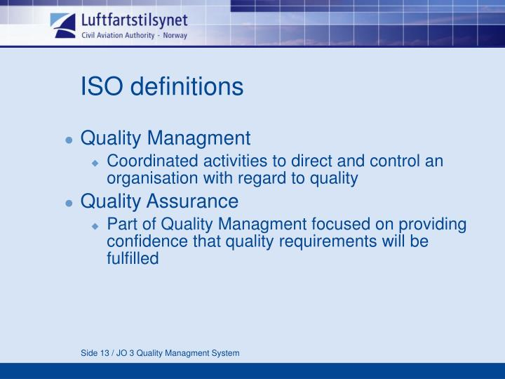 ISO definitions