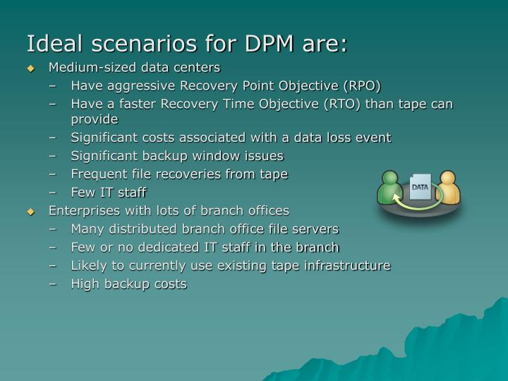 Ideal scenarios for DPM are: