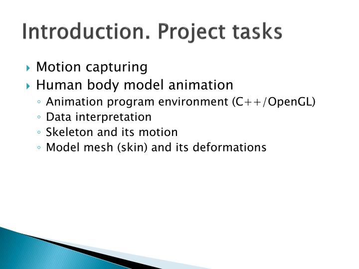 Introduction project tasks