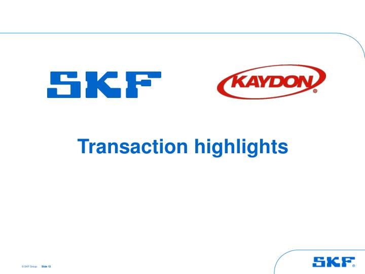 Transaction highlights