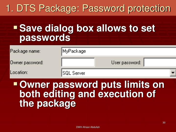 1. DTS Package: Password protection