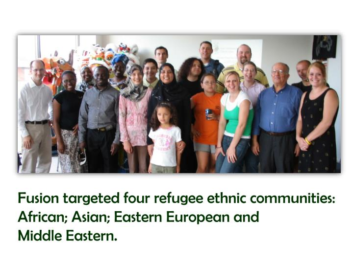 Fusion targeted four refugee ethnic communities: African; Asian; Eastern European and