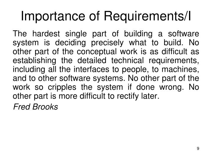 Importance of Requirements/I