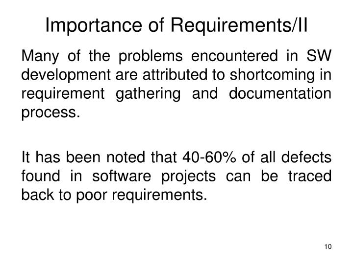 Importance of Requirements/II