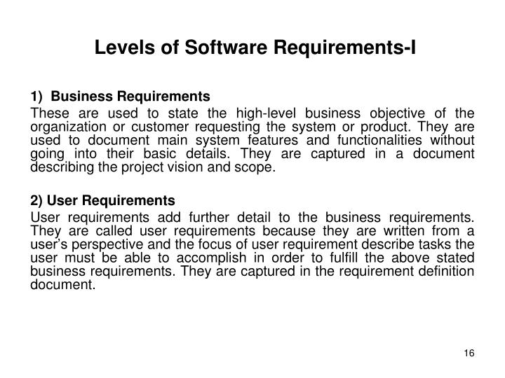Levels of Software Requirements-I