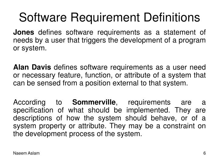 Software Requirement Definitions