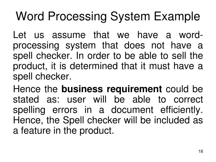 Word Processing System Example