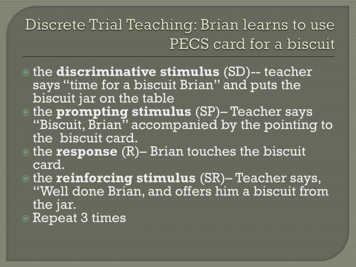 Discrete Trial Teaching: Brian learns to use PECS card for a biscuit