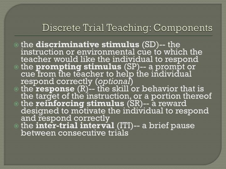 Discrete Trial Teaching: Components