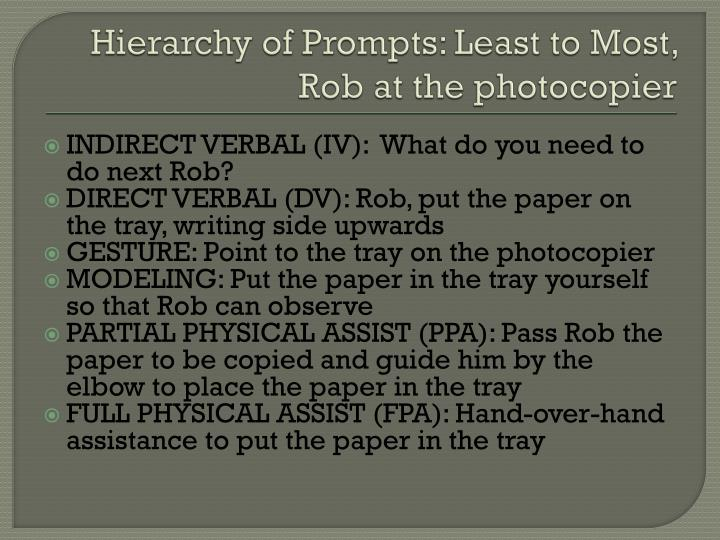 Hierarchy of Prompts: Least to Most, Rob at the photocopier