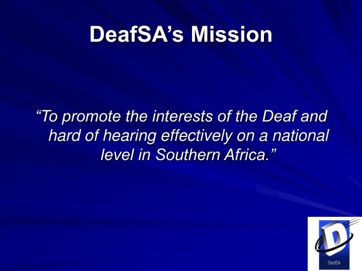 DeafSA's Mission