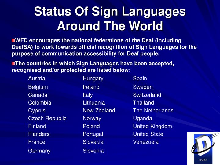 Status Of Sign Languages Around The World