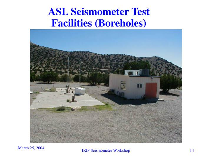 ASL Seismometer Test Facilities (Boreholes)