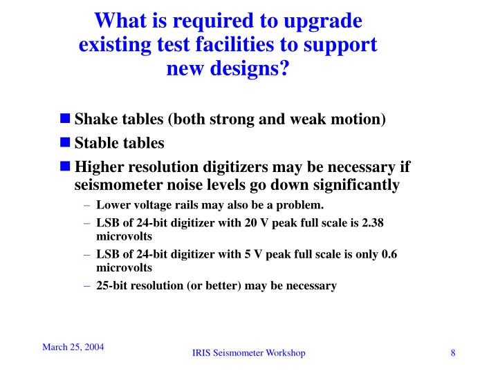 What is required to upgrade existing test facilities to support new designs?