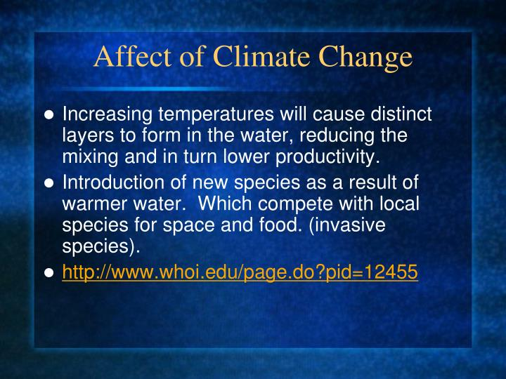 Affect of Climate Change