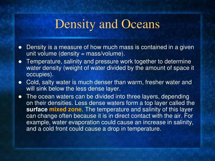 Density and Oceans