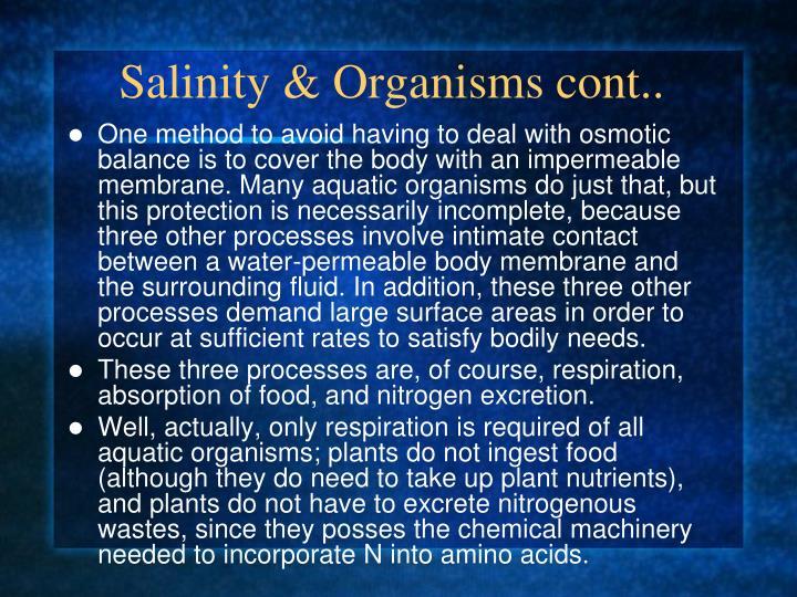 Salinity & Organisms cont..