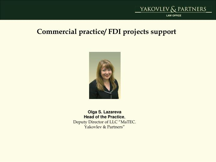 Commercial practice/ FDI projects support