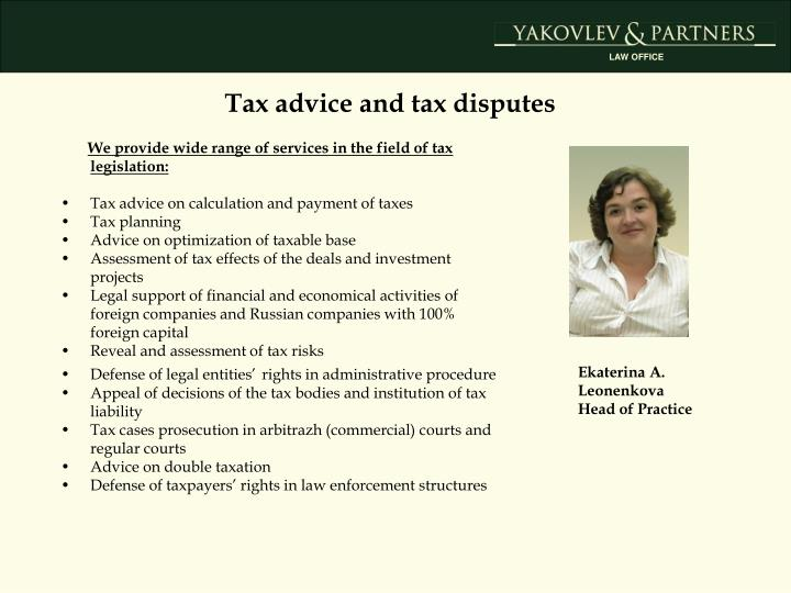 Tax advice and tax disputes