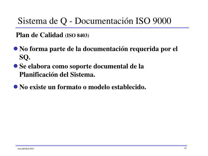 No forma parte de la documentación requerida por el SQ.