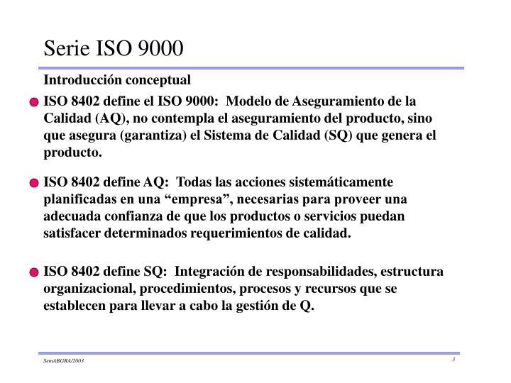 ISO 8402 define el ISO 9000:  Modelo de Aseguramiento de la Calidad (AQ), no contempla el aseguramiento del producto, sino que asegura (garantiza) el Sistema de Calidad (SQ) que genera el producto.