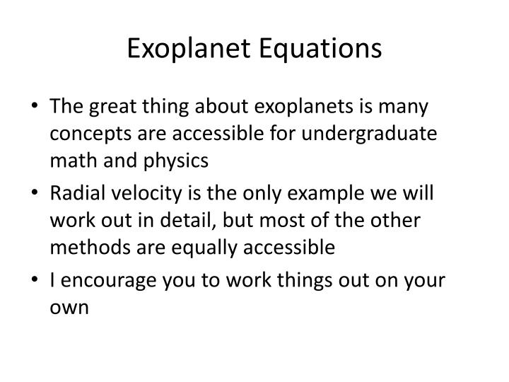 Exoplanet Equations