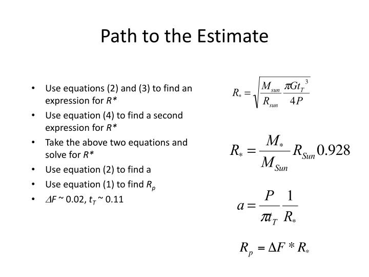 Path to the Estimate