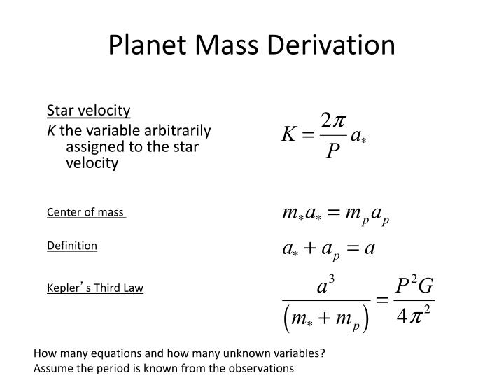 Planet Mass Derivation