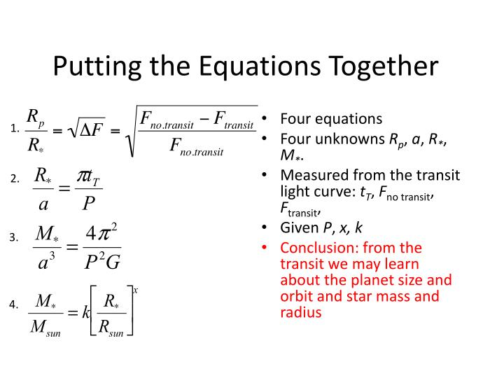 Putting the Equations Together