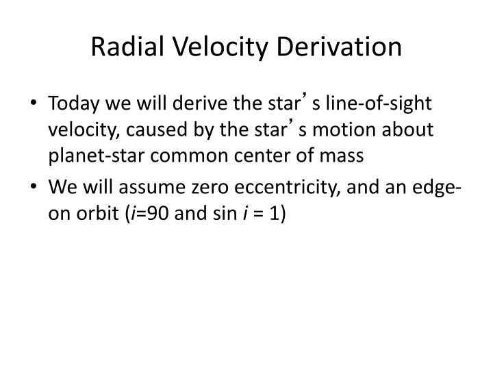 Radial Velocity Derivation