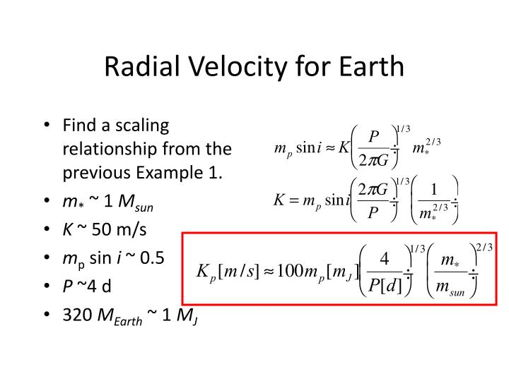 Radial Velocity for Earth