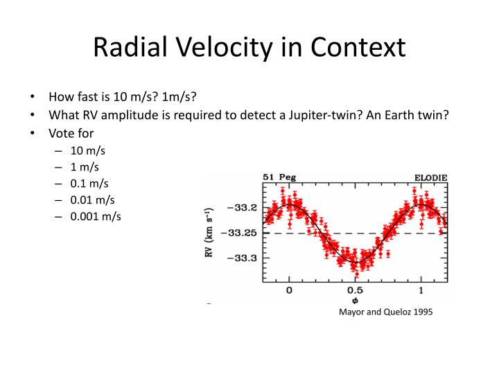 Radial Velocity in Context