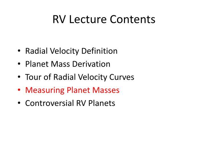 RV Lecture