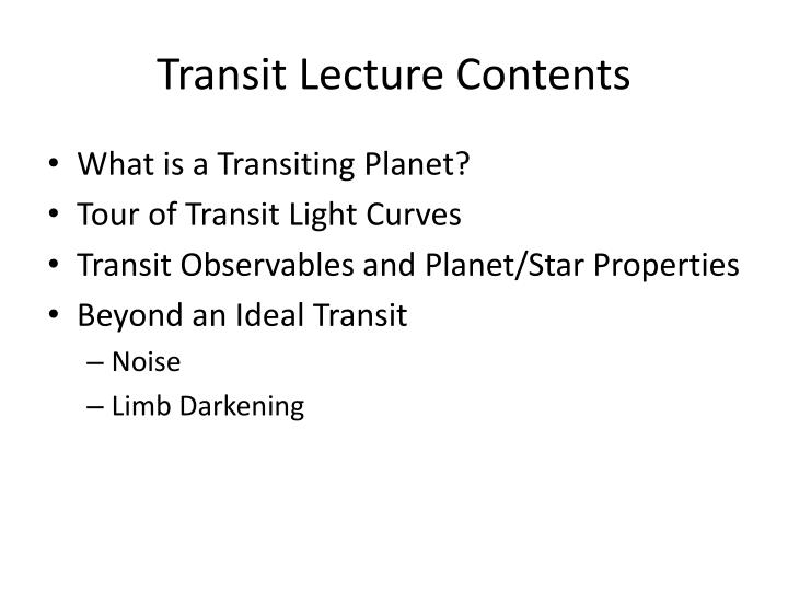 Transit Lecture