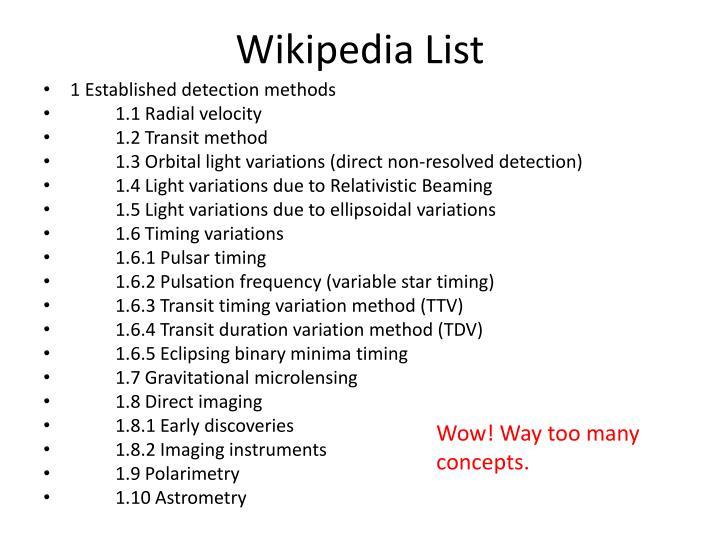 Wikipedia List