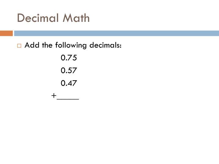 Decimal Math