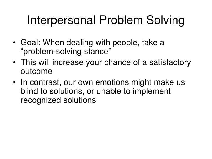 Interpersonal Problem Solving