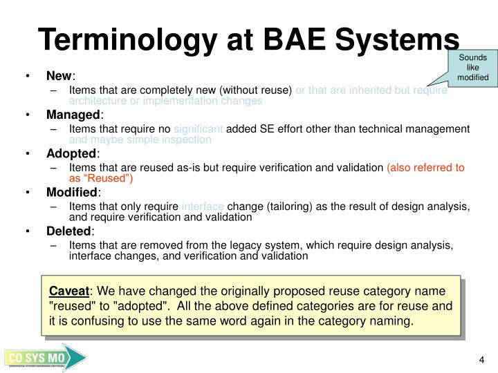 Terminology at BAE Systems