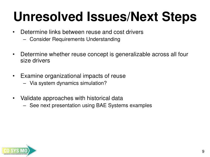 Unresolved Issues/Next Steps