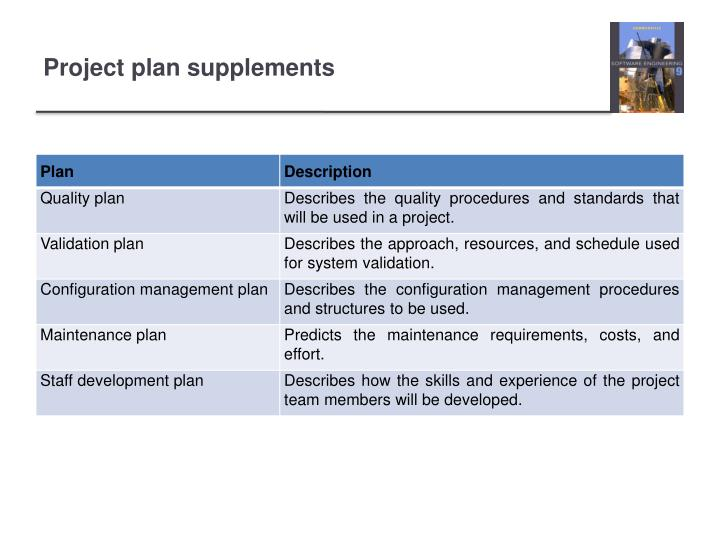 Project plan supplements