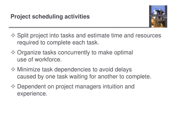 Split project into tasks and estimate time and resources required to complete each task.