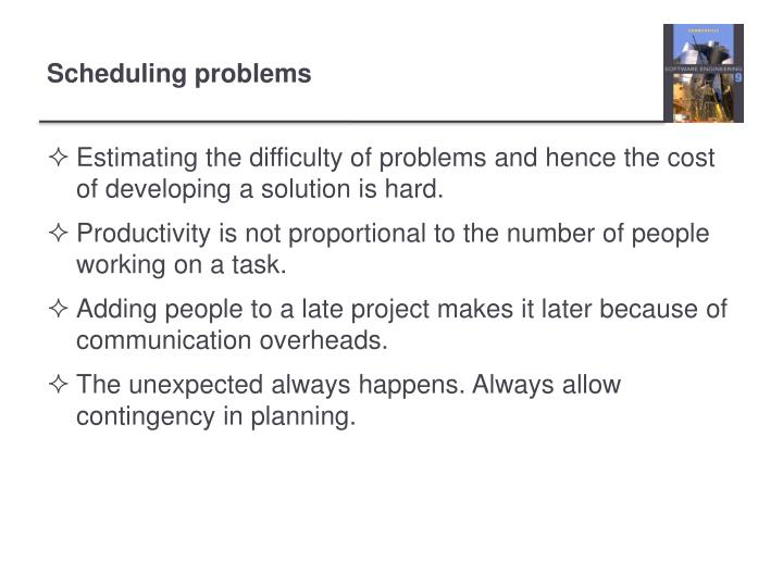 Estimating the difficulty of problems and hence the cost of developing a solution is hard.