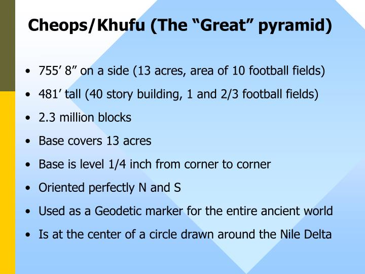 "Cheops/Khufu (The ""Great"" pyramid)"